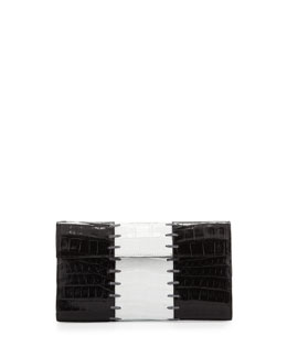 Nancy Gonzalez Small Crocodile Colorblock Clutch Bag, Black/White