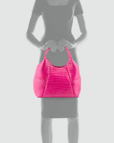 Crocodile Large Stitched Tote Bag, Pink