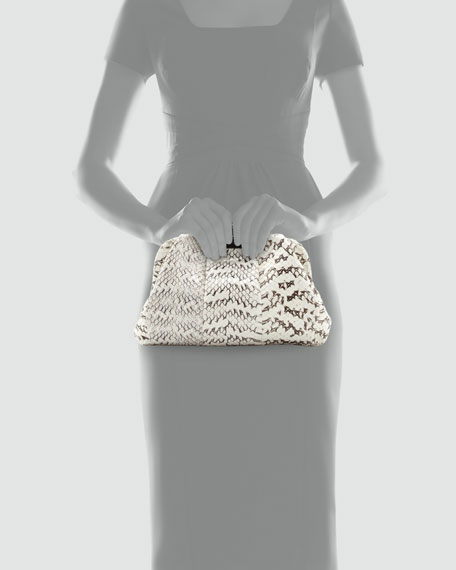 Soft Snake & Crocodile Clutch Bag, White/Black