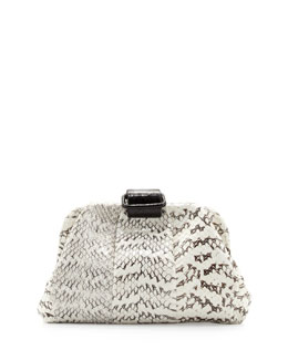 Nancy Gonzalez Soft Snake & Crocodile Clutch Bag, White/Black