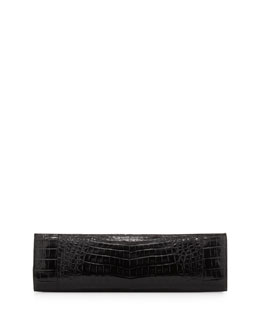 Nancy Gonzalez Slim Crocodile Clutch Bag, Black
