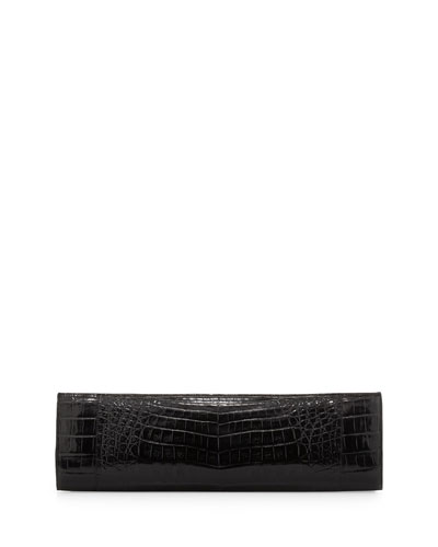 Slim Crocodile Clutch Bag, Black
