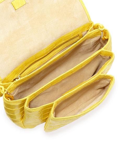 Crocodile Compartmentalized Mini Crossbody Bag, Yellow