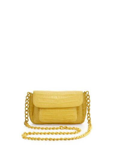 Nancy Gonzalez Crocodile Compartmentalized Mini Crossbody Bag, Yellow