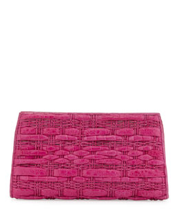 Nancy Gonzalez Woven Crocodile Clutch Bag, Pink