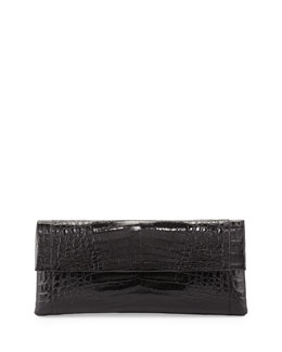 Nancy Gonzalez Crocodile Flap Clutch Bag, Black