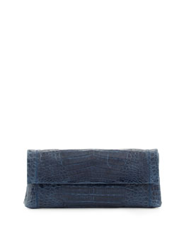 Nancy Gonzalez Flap Crocodile Clutch Bag, Navy