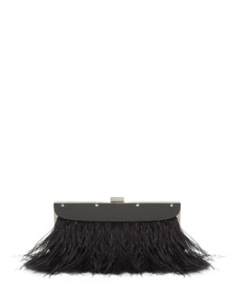 BCBGMAXAZRIA Portia Feather-Trim Clutch