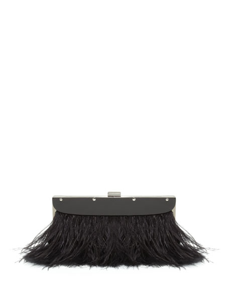 Portia Feather-Trim Clutch