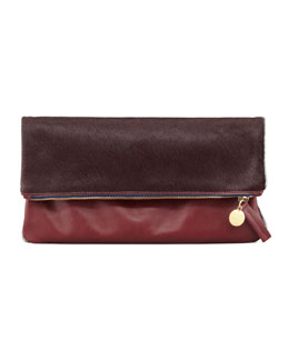 Clare V. Leather/Calf Hair Fold-Over Clutch, Bordeaux