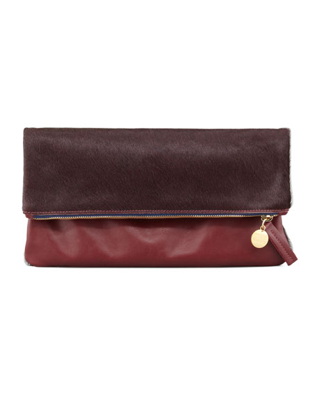 Leather/Calf Hair Fold-Over Clutch, Bordeaux
