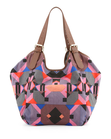Berkeley Printed Tote Bag, Fuchsia