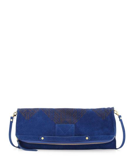 Patterned Suede Banker's Clutch Bag, Indigo