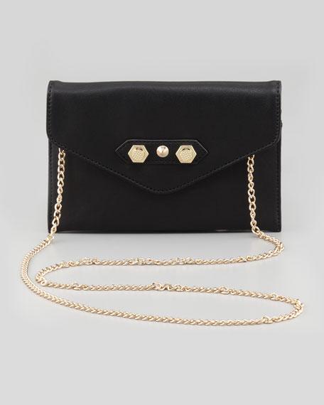 Tina Envelope-Flap Crossbody Bag, Black