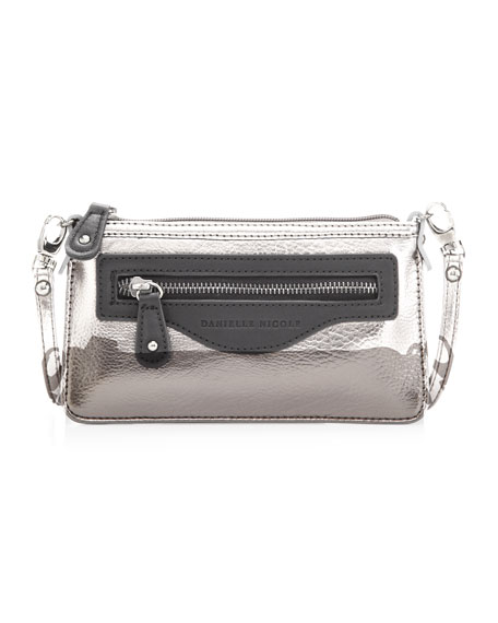 Davina Mini Metallic Crossbody Bag, Gunmetal