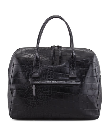 Animal Mania Crocodile-Print Bag, Black