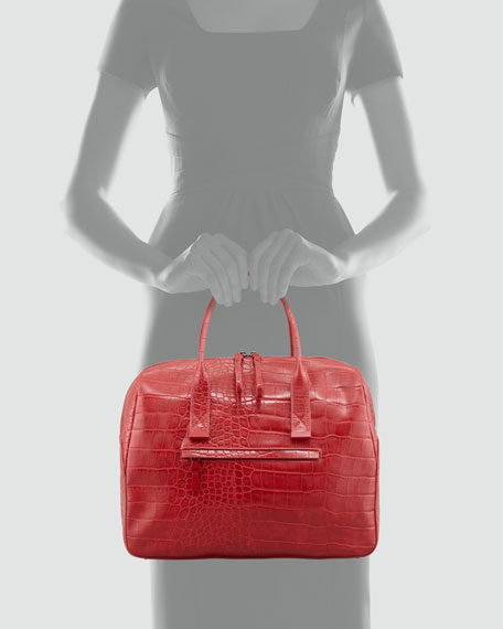 Animal Mania Crocodile-Print Bag, Red