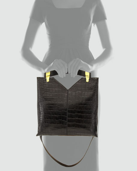 Buckle Up Crocodile-Embossed Tote Bag