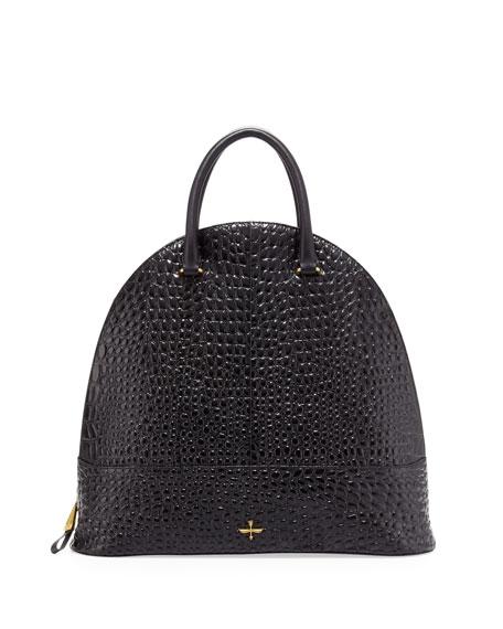 Nora Pebbled Dome Tote Bag, Black
