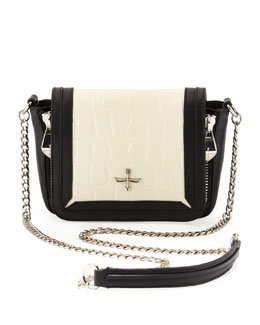 Pour la Victoire Elie and Alsace Embossed Crossbody Bag, Black