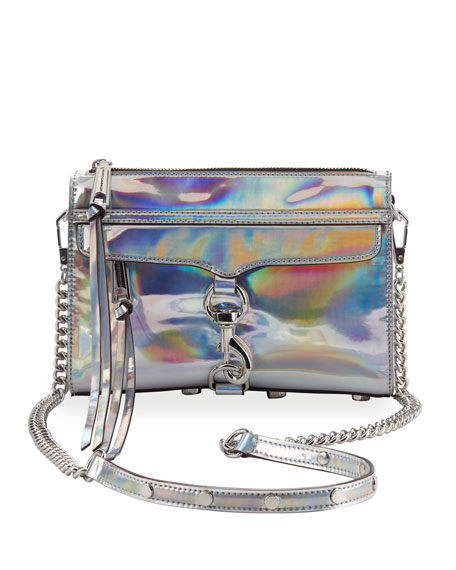 Mini MAC PVC Crossbody Bag, Platinum