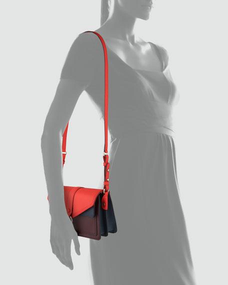 Hudson Colorblock Moto Mini Crossbody Bag, Black Cherry/Scarlet/Navy