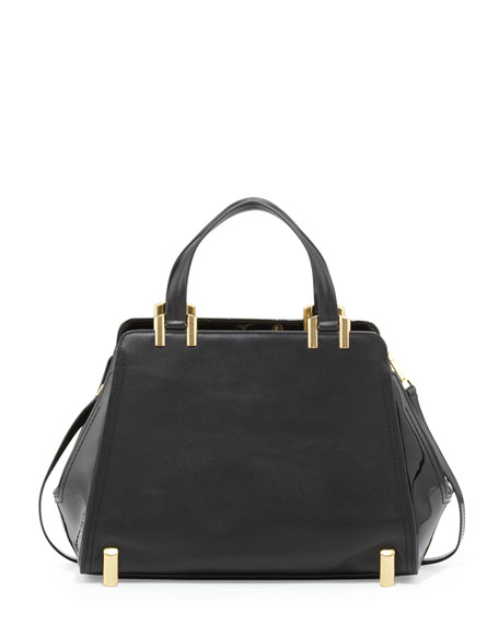 Daphne Structured Leather Carryall, Black