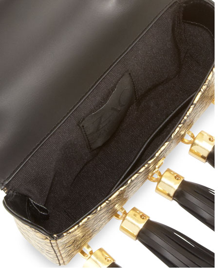 Claudette Scale-Embossed Tassel Clutch, Oro