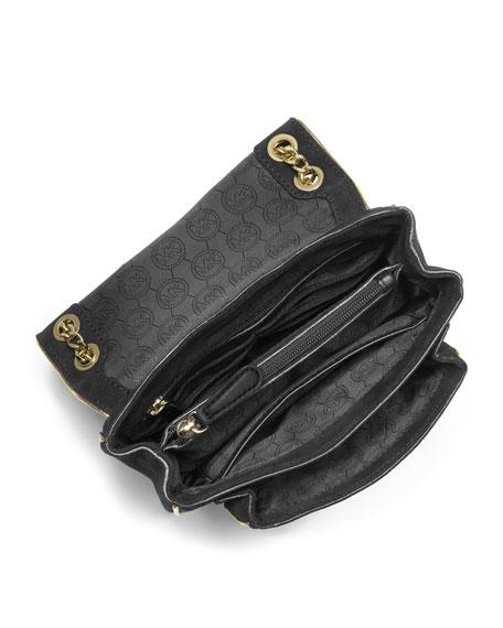 Small Specchio Sloan Suede Shoulder Flap Bag