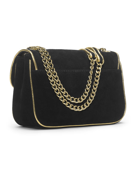 Small Specchio Sloan Suede Shoulder Flap Bag