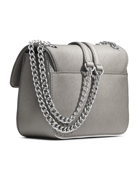 Small Sloan Saffiano Shoulder Flap Bag