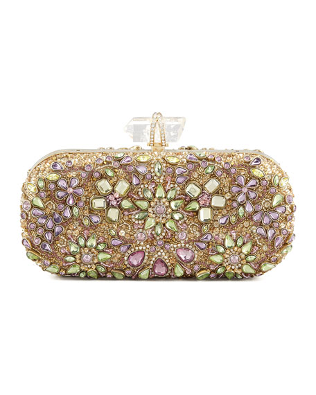 Lily Crystal Embroidered Box Clutch Bag, Gold/Multi