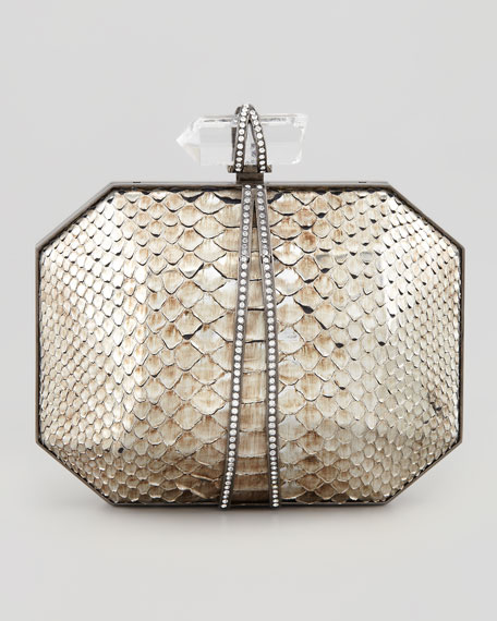Iris Metallic Python Box Clutch Bag, Silver