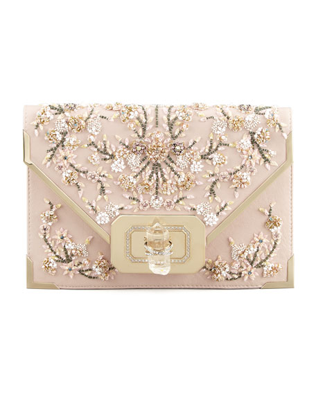 Valentina Floral Beaded Envelope Clutch Bag, Pink/Multi