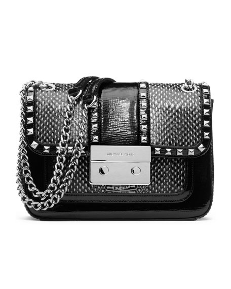 Small Sloan Studded Shoulder Flap Bag