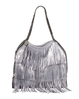 Stella McCartney Falabella Fringe Small Tote Bag, Platinum