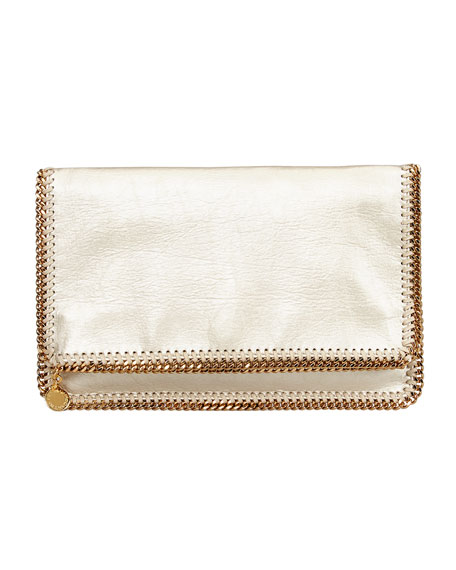 Falabella Fold-Over Clutch Bag, Gold
