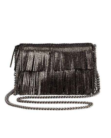 Falabella Fringe Crossbody Bag, Ruthenium
