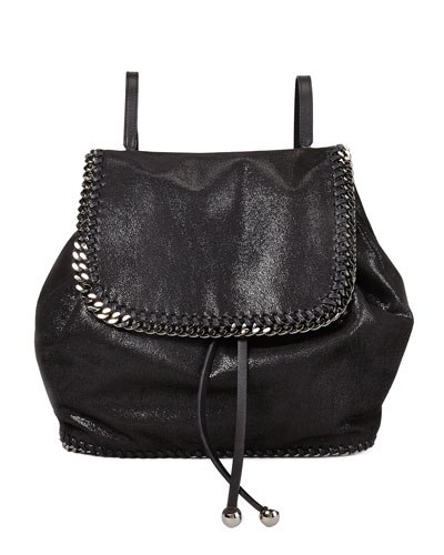 Falabella Shaggy Deer Backpack, Black/Silver
