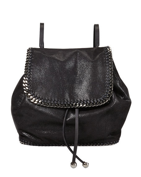 Stella McCartney Falabella Shaggy Deer Backpack, Black/Silver