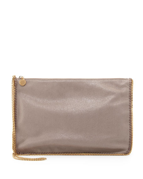 Mini Chain Shoulder Bag, Gray Metallic