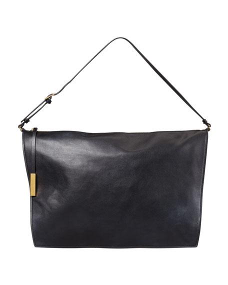 Faux-Napa Big Shoulder Bag, Black