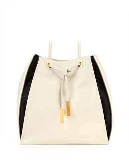 Stella McCartney Bicolor Faux-Leather Rucksack, Black/White
