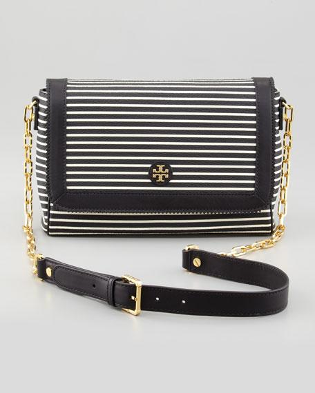 Vivia Striped Crossbody Bag, Black/White