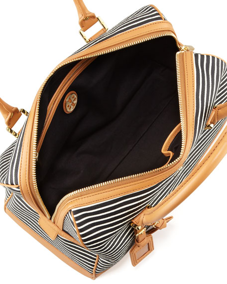 Viva Striped Satchel Bag, Black/White