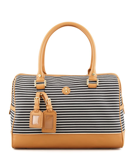 Viva Striped Satchel Bag, Black/White