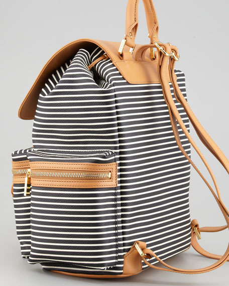 Viva Coated-Canvas Backpack, Black/White