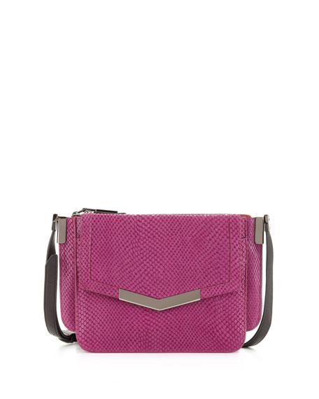 Mini Trilogy Serpent-Print Crossbody Bag, Magenta