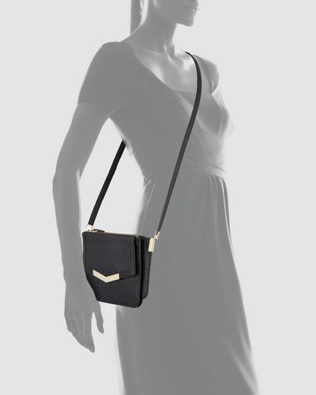 Mini Trilogy Serpent-Print Crossbody Bag, Black