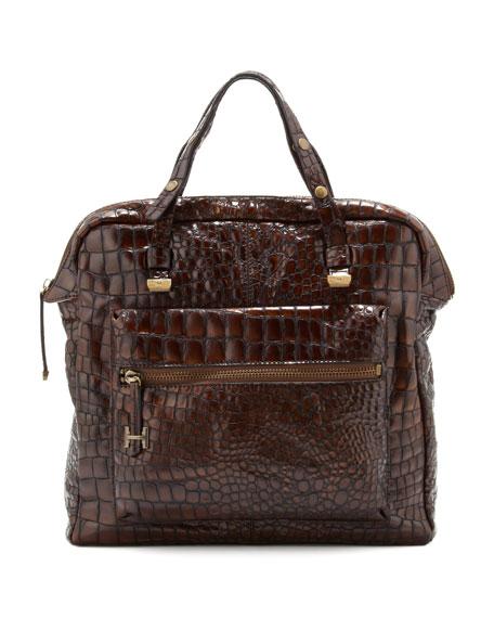 Crocodile-Embossed Tote Bag